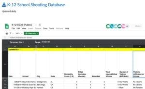 Screenshot of the K-12 School Shooting Database