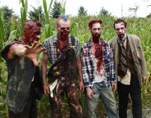 Men in zombie costumes at Field of Screams in Mountville, pennsylvania, for Halloween