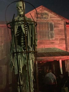 Skeleton in front of Chamber of Horrors at Jason's Woods in Lancaster County in Pennsylvania