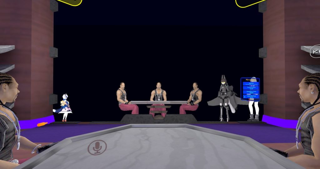 My friends, Mr. Brown and Mr. Purple, and I are sitting around a table as avatars of Snoop Dogg during this VRChat lounge raid.